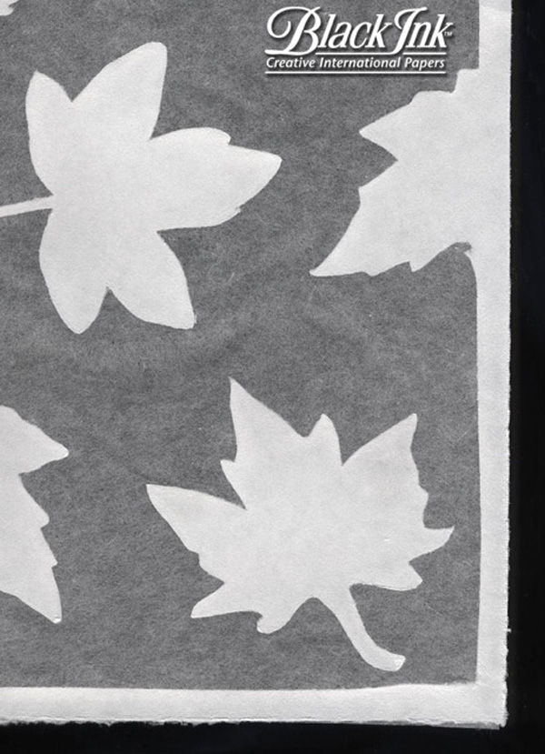 Paper Thai Sheer Silhouette Maple Leaves Wht