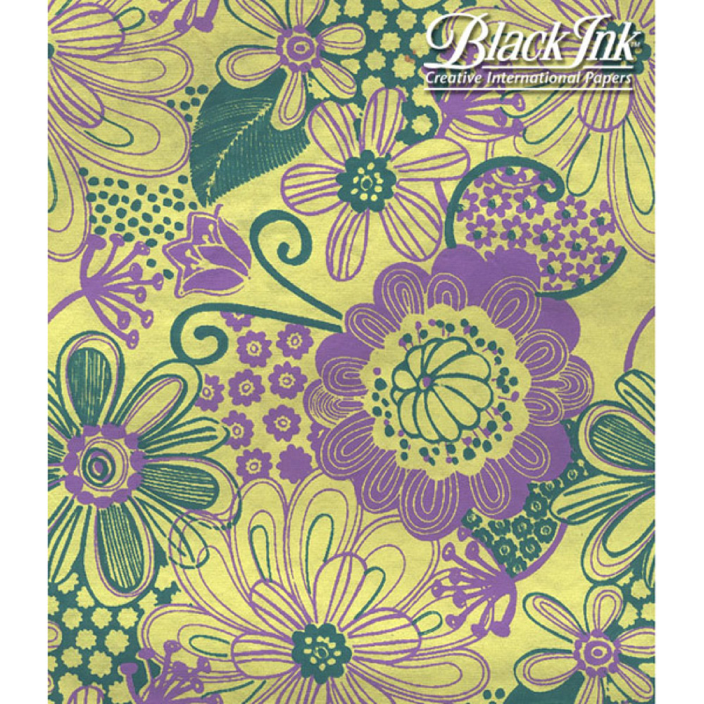 Paper India Flower Power Lavend/Green 21X29