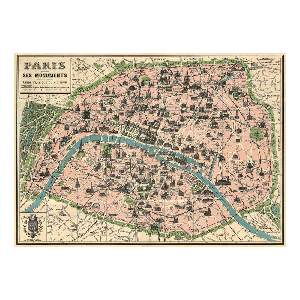 Decorative Wrap 20X28 Paris Map