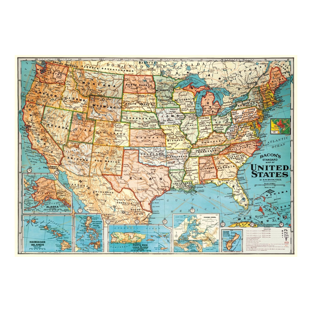 Amazoncom X United States Classic Premier D Laminated Wall - Usa map buy