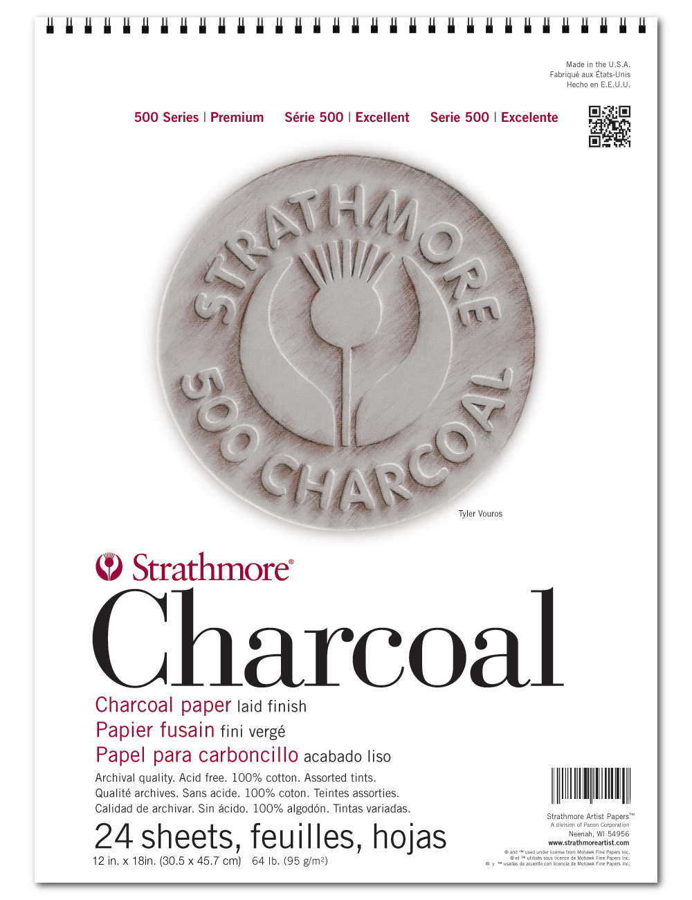 Strathmore 500 Charcoal Pad Assorted 12X18