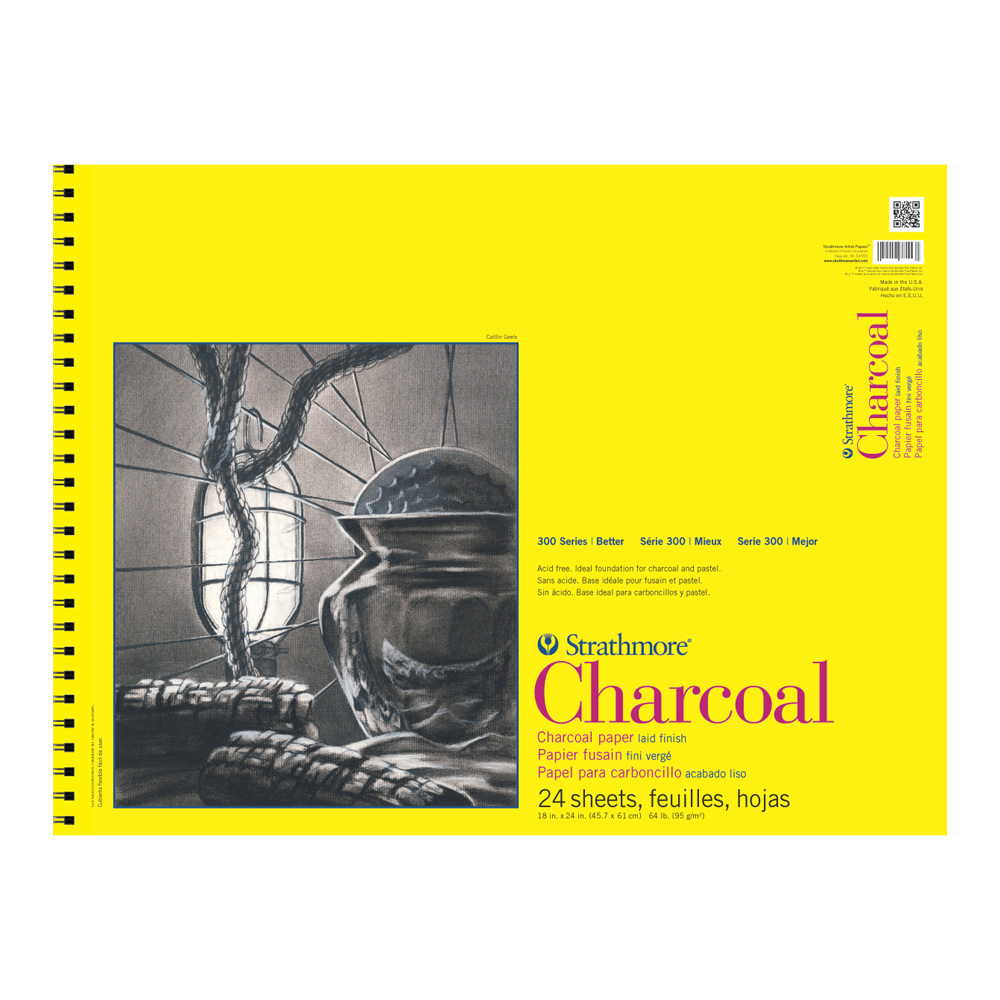 Strathmore 300 Charcoal Pad White 18X24 Wire