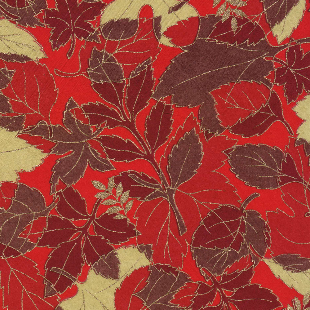 Yuzenshi Paper Fall Leaves On Red 18.5X25