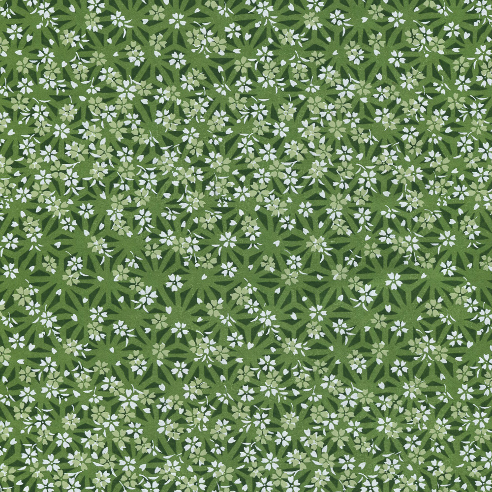 Yusenshi Paper Green/White Flowers 19x25.5
