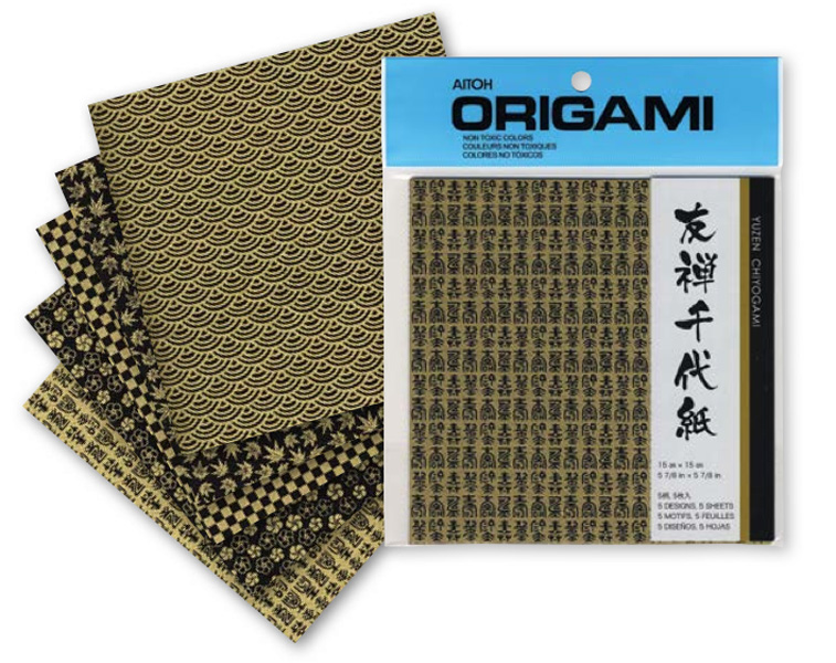 Origami Paper Yuzen Black & Gold 6X6 5 Sheets