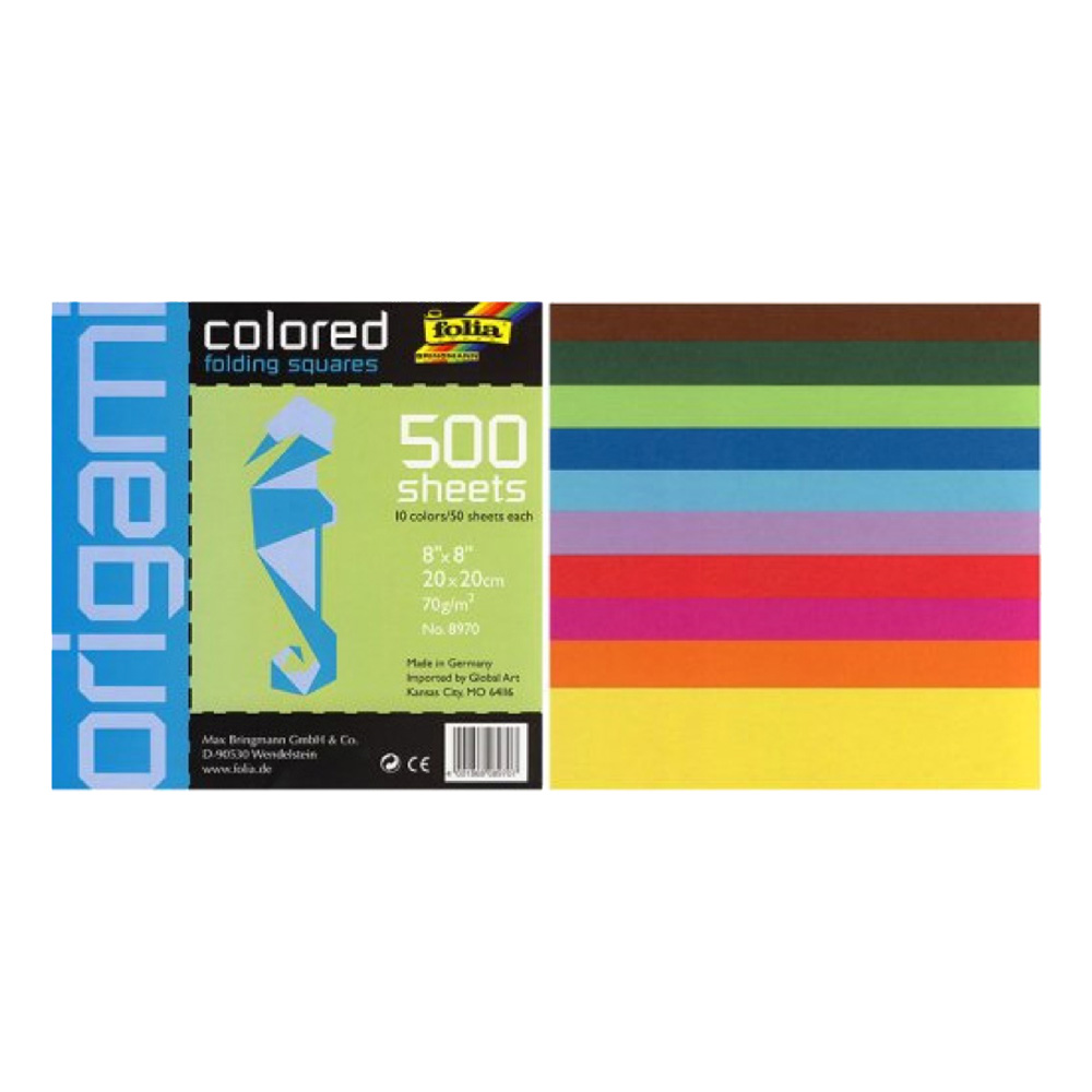 Folia Origami Paper 8X8 Assorted 500 Pkg