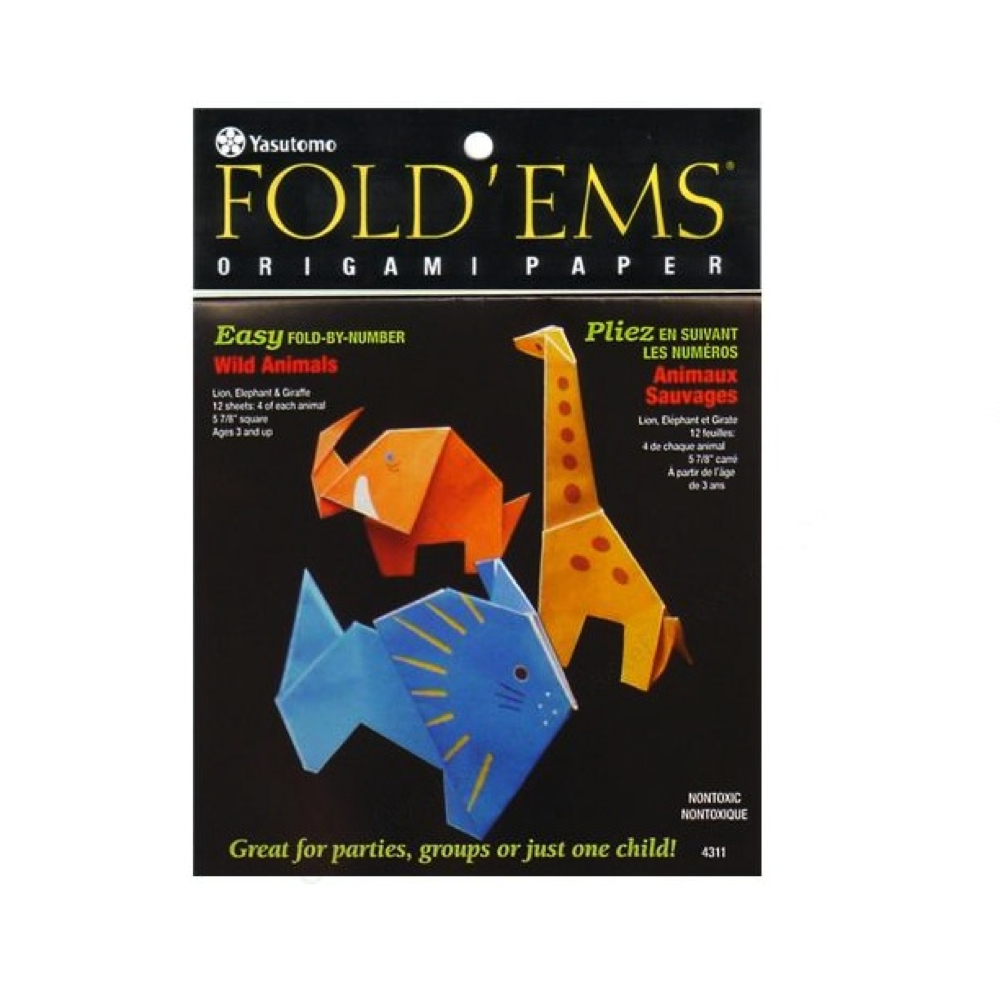 Fold'ems Origami Paper Wild Animals 6X6