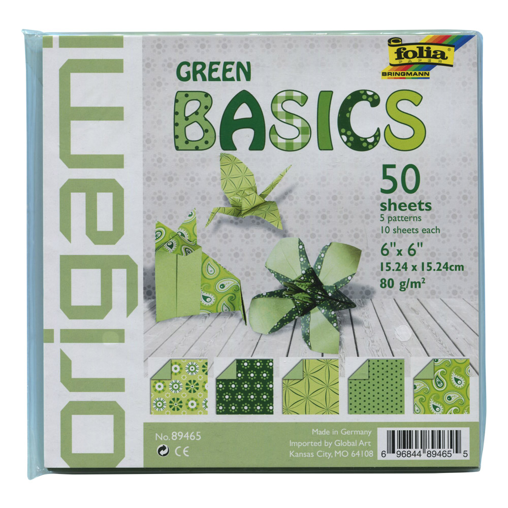 Folia Origami Basics Paper: Green 50/Sheets