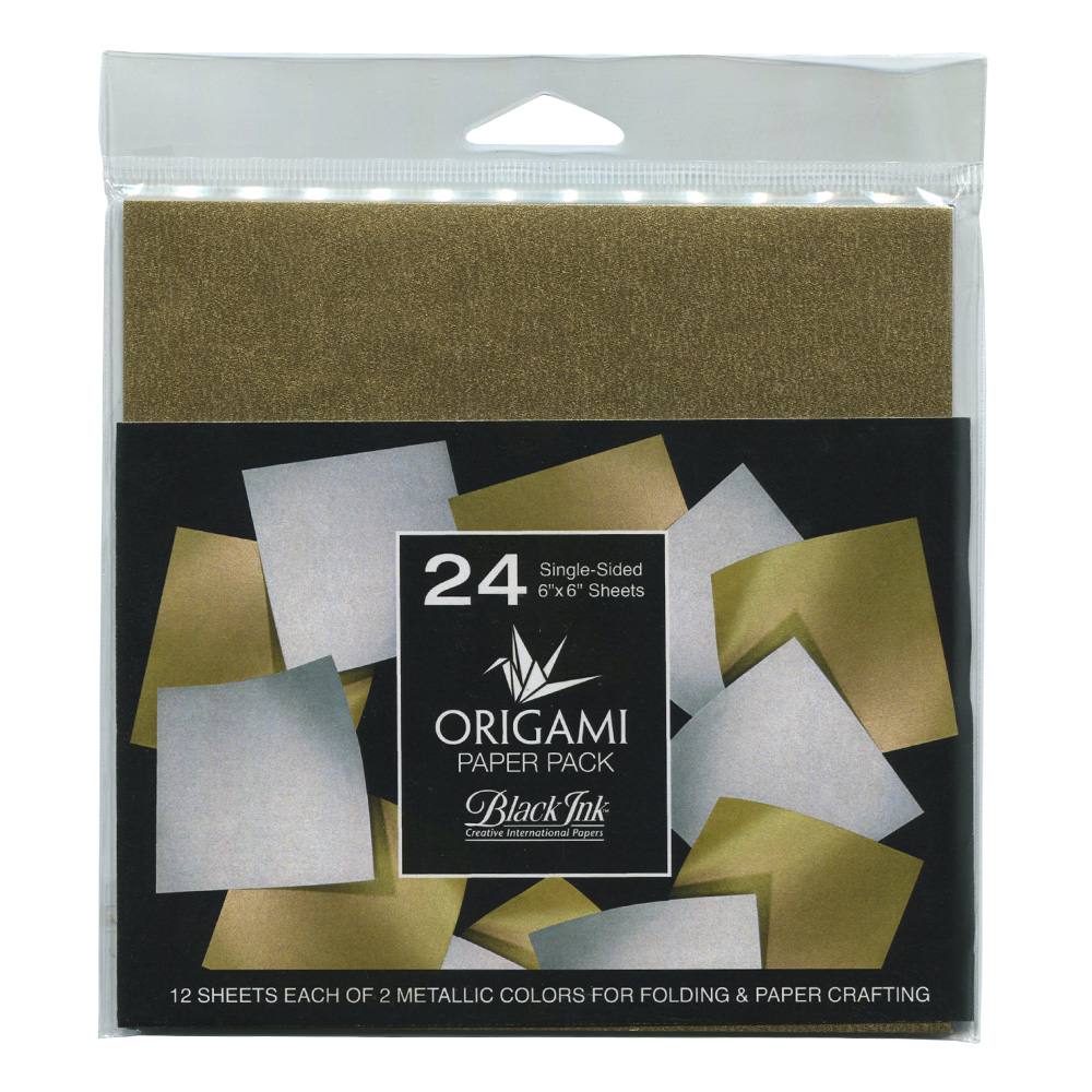 Origami Paper 24 Sheets Metallic Gold/Silver