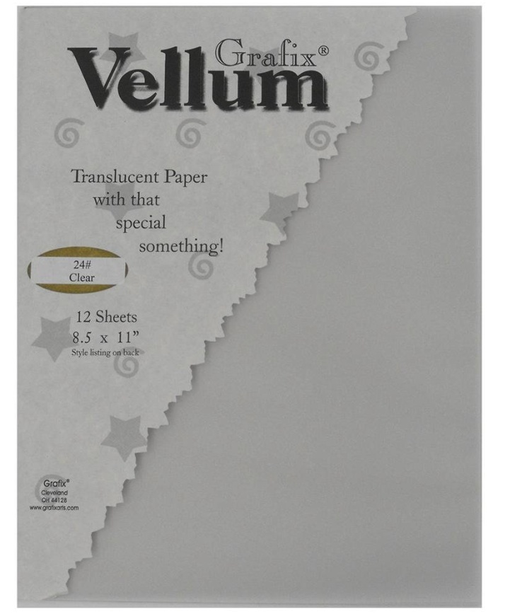 Grafix Vellum 12 Sheets 8.5X11 Clear 24Lb