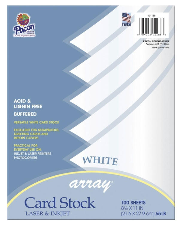 Array Card Stock 8.5X11 White Pk/100