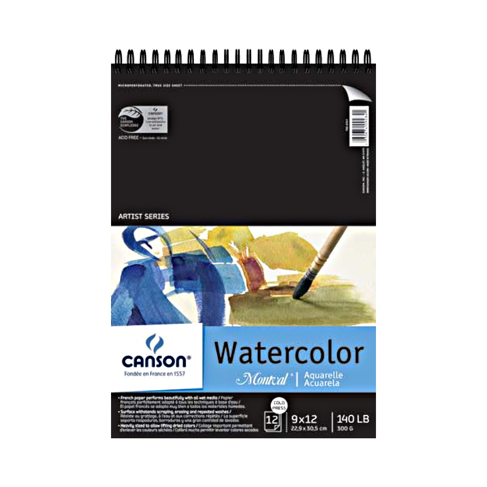 Montval 140Lb Watercolor Pad Wired 9X12