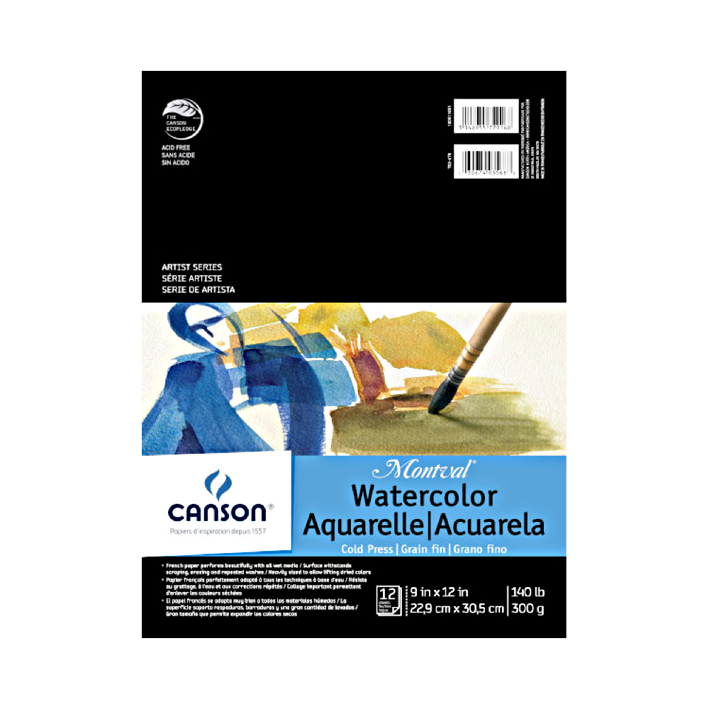 Montval 140Lb Watercolor Pad Taped 9X12