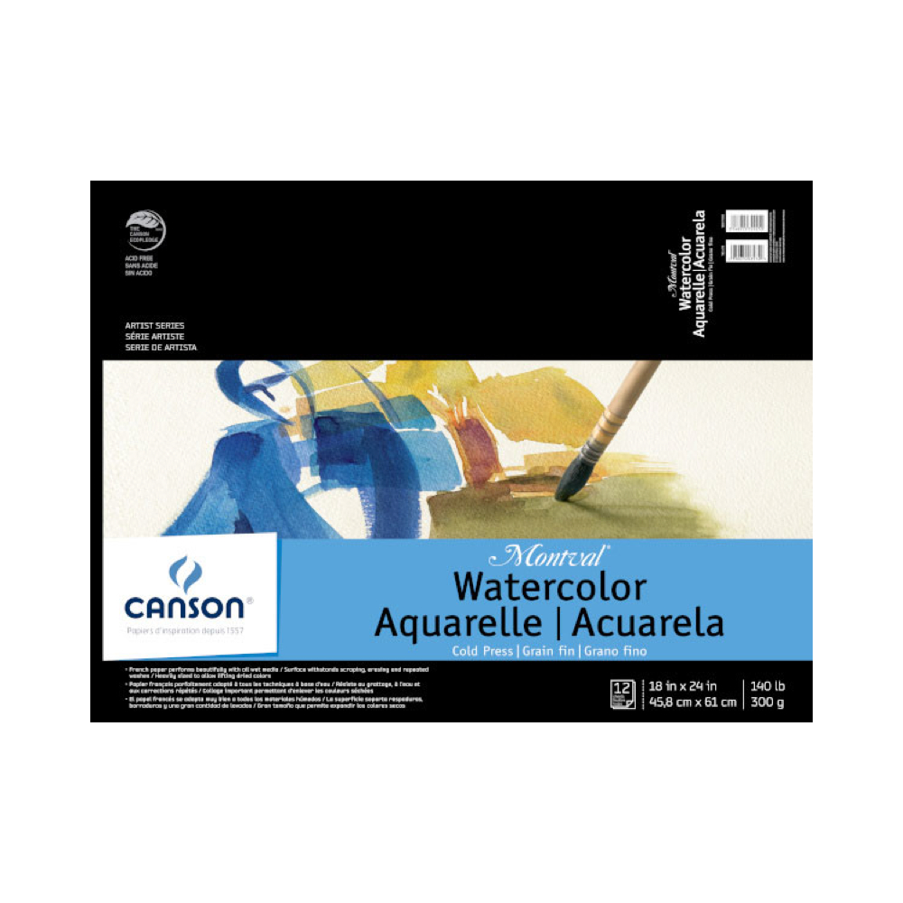 Montval 140Lb Watercolor Pad Taped 18X24