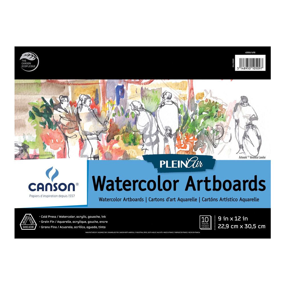 Plein Air Watercolor Artboard 9X12 10 Boards