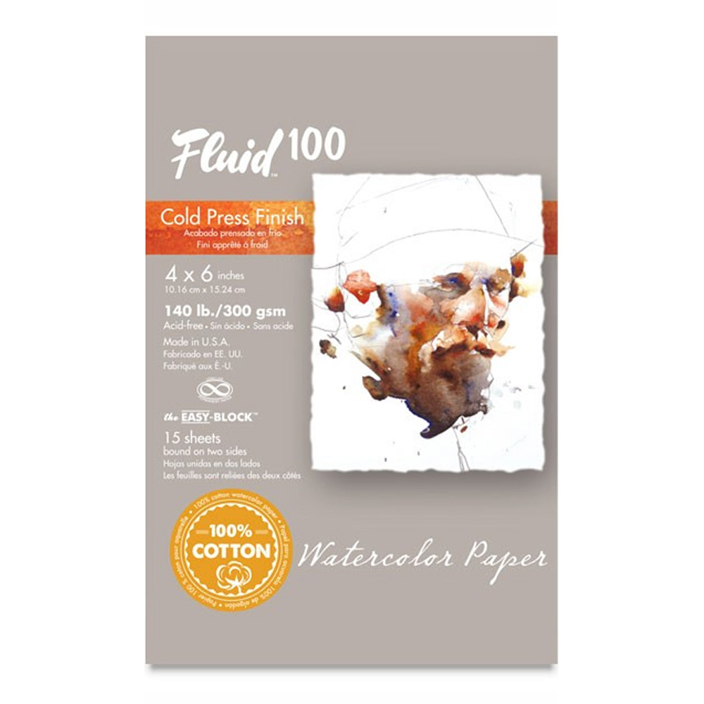 Fluid 100 Watercolor Cp 140Lb Ez-Block 4X6