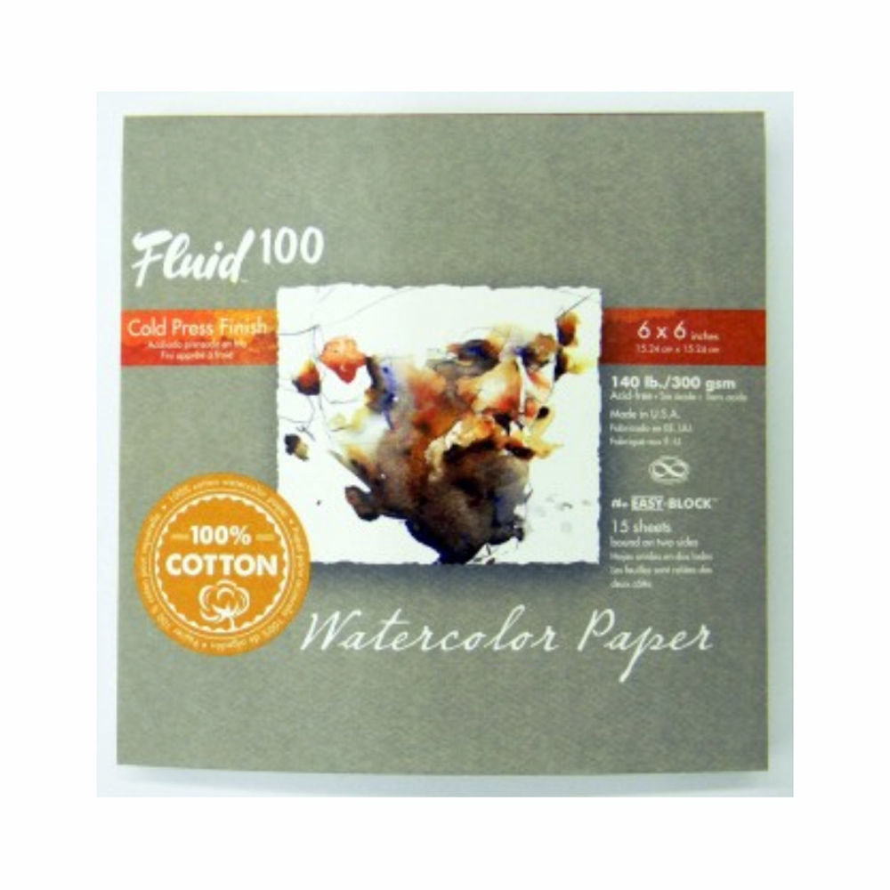 Fluid 100 Watercolor Cp 140Lb Ez-Block 6X6