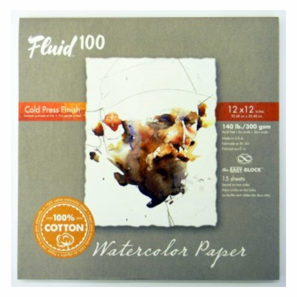 Fluid 100 Watercolor Cp 140Lb Ez-Block 12X12