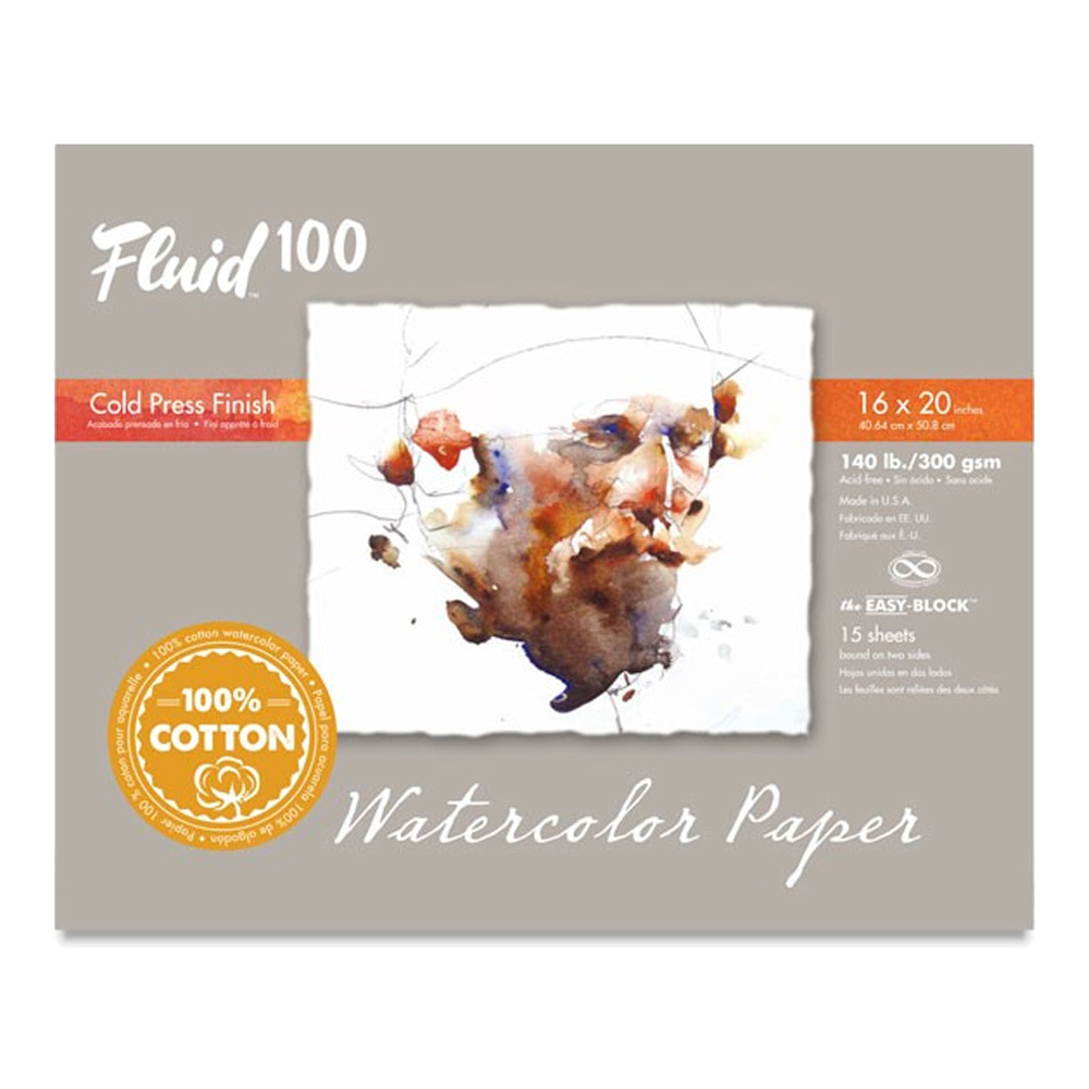 Fluid 100 Watercolor Cp 140Lb Ez-Block 16X20
