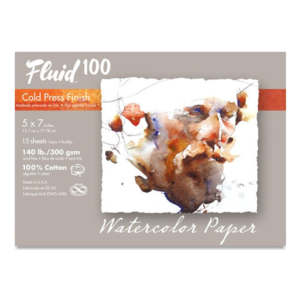Fluid 100 Watercolor Cp 140Lb Pochette 5X7