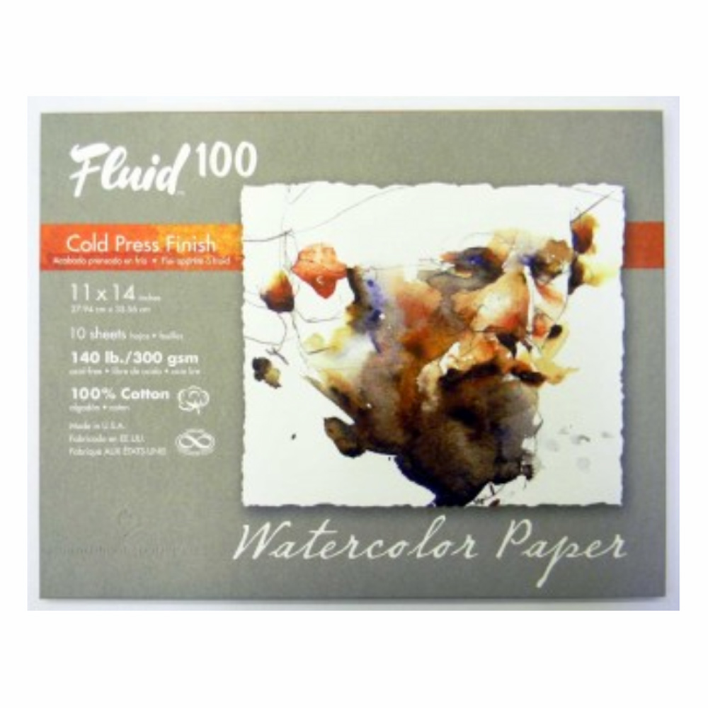 Fluid 100 Watercolor Cp 140Lb Pochette 11X14