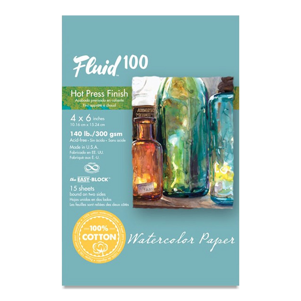 Fluid 100 Watercolor Hp 140Lb Ez-Block 4X6