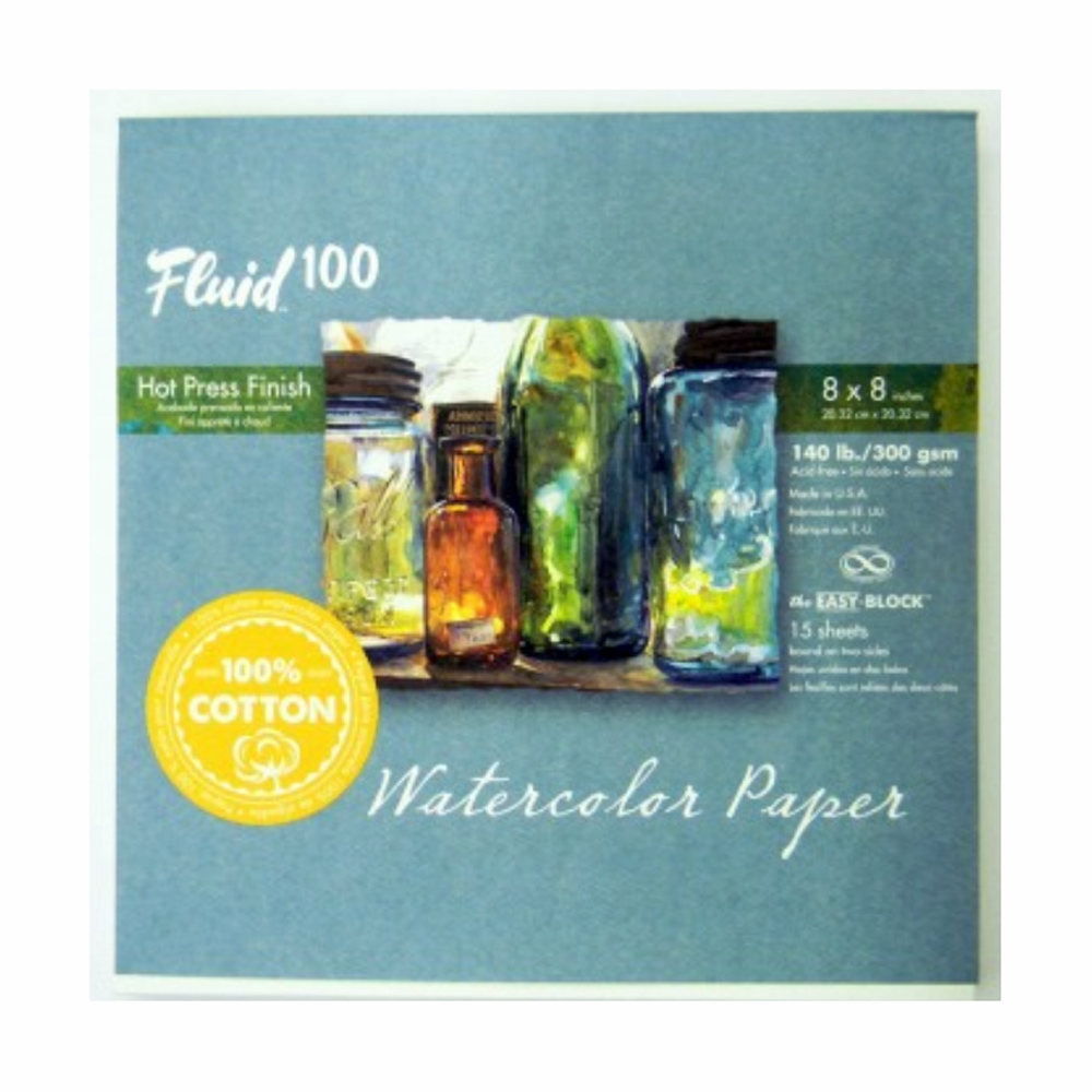 Fluid 100 Watercolor Hp 140Lb Ez-Block 8X8