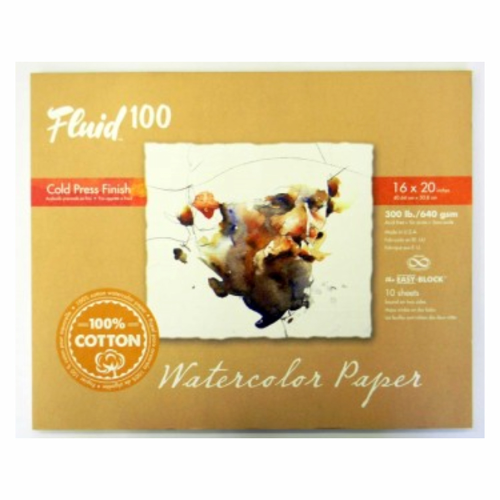 Fluid 100 Watercolor Cp 300Lb Ez-Block 16X20