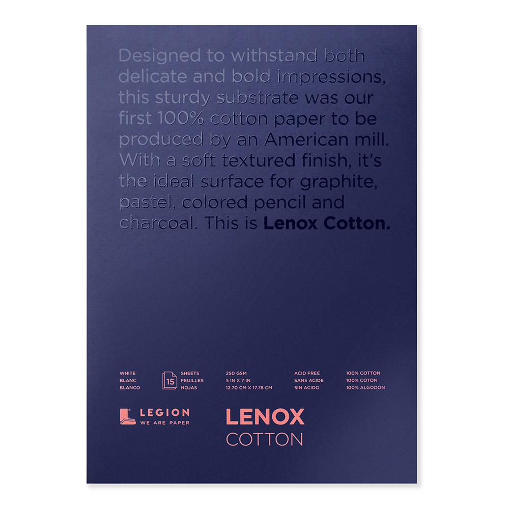 Lenox 100 White Pad 5X7 Inches 15 Sheets