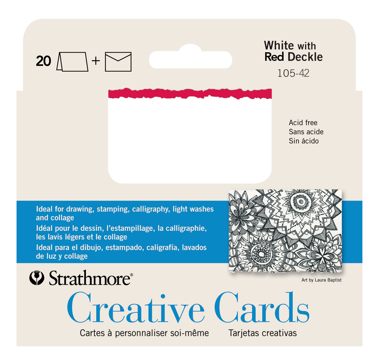 Strathmore Greeting Cards White/Red Pkg 20