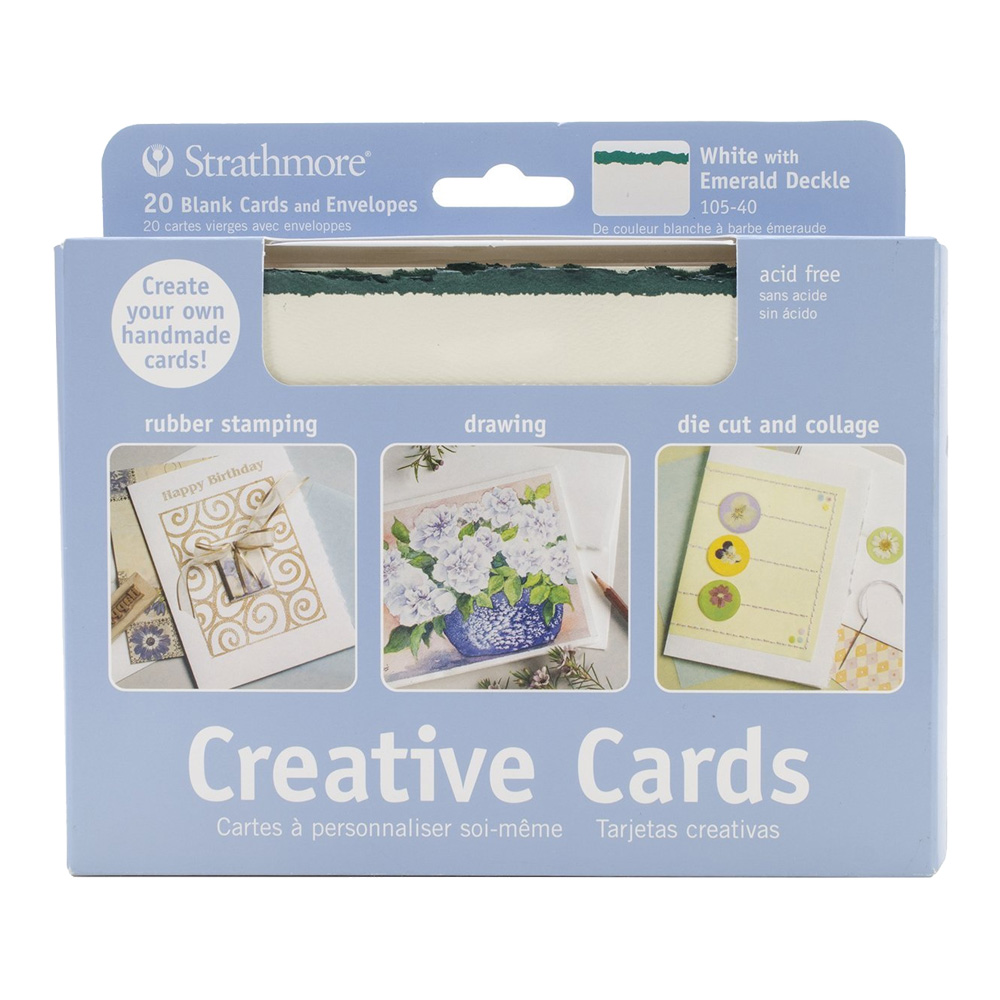 Strathmore Greeting Cards White/Green Pkg 20