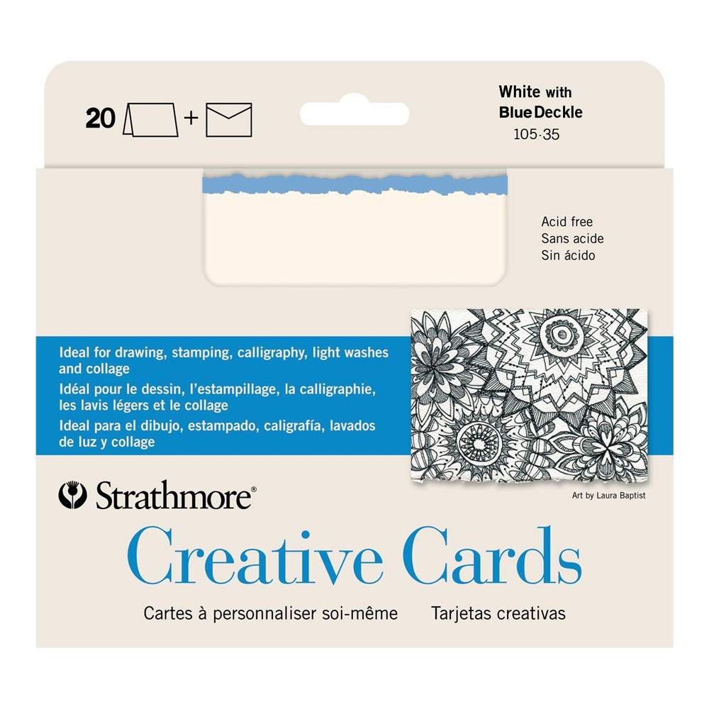 Strathmore Greeting Cards White/Blue Pkg 20