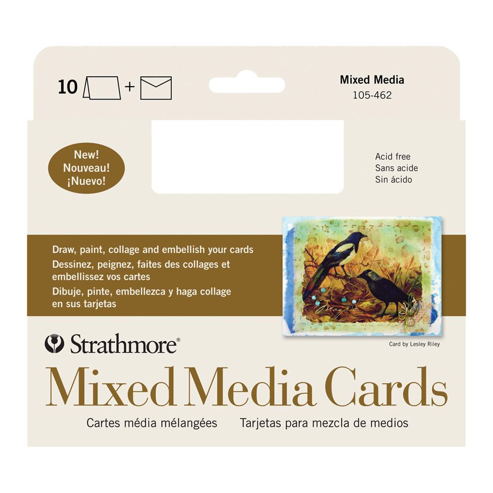 Strathmore Mixed Media Cards 5X6.9 Pkg 10