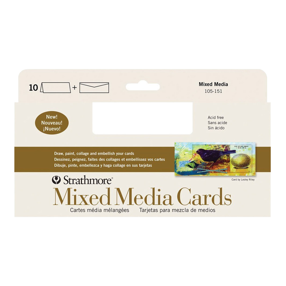 Strathmore Mixed Media Cards 3.6X8.5 Pkg 10