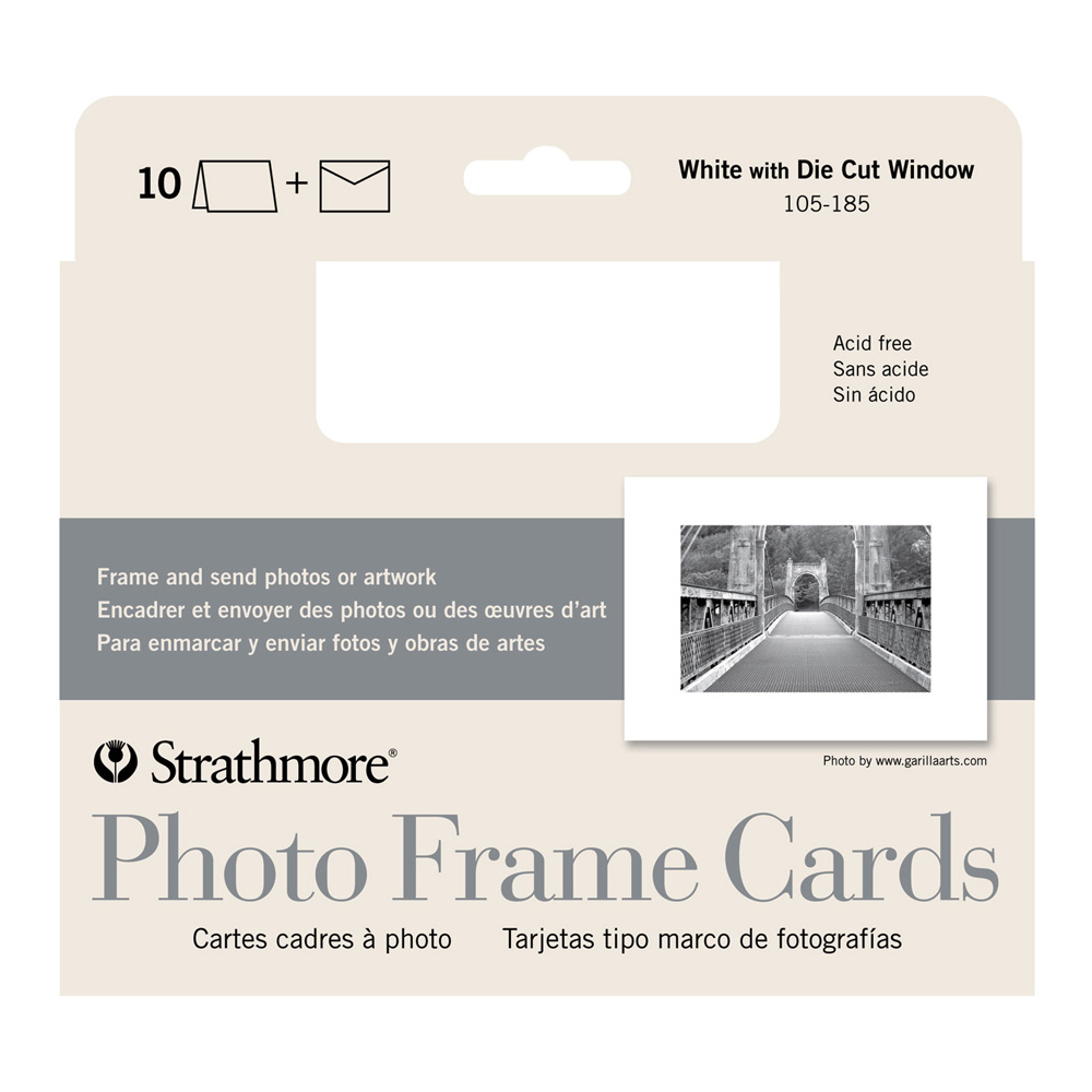 Strathmore Photoframe Cards White Pkg 10