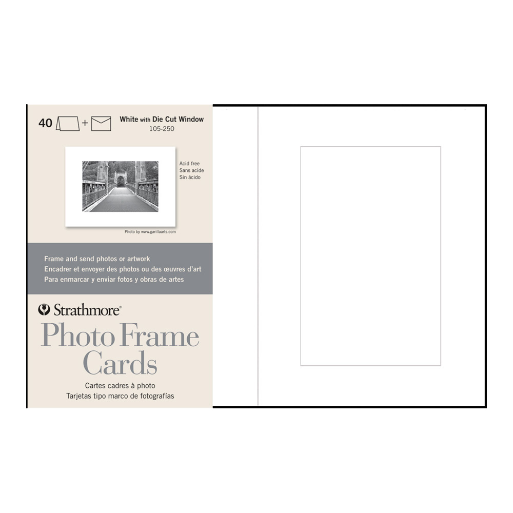 Strathmore Photoframe Cards White Pkg 40