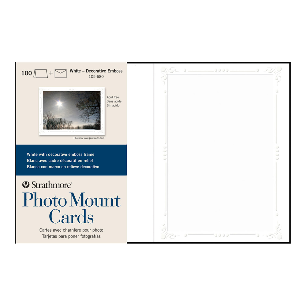 Strathmore Photomount Cards Deco White Pk/100