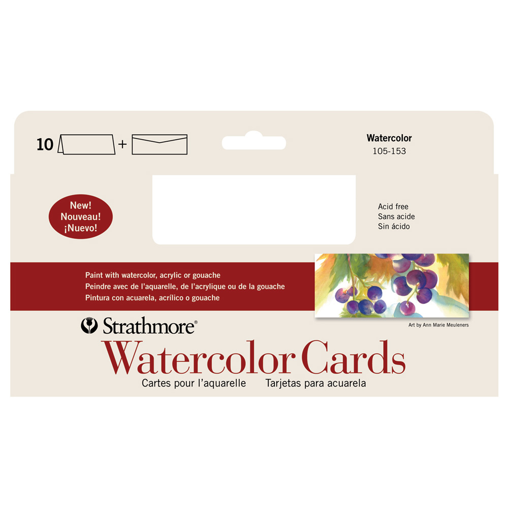 Strathmore Cards Slim Size Watercolor Pk10