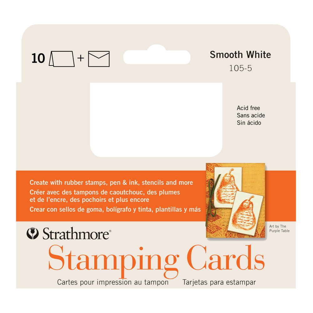 Announcement Stamping Cards White Pkg 10