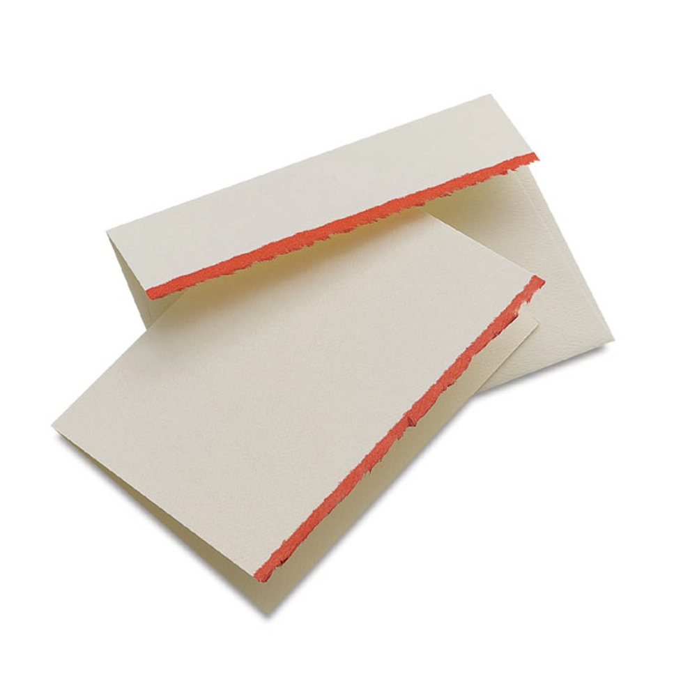 Announcement Cards Red Deckle Edge Pkg 10