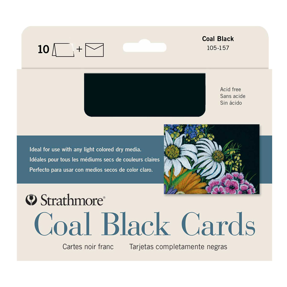Strathmore Greeting Cards Coal Black Pkg 10