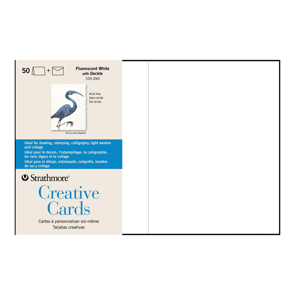 Strathmore Greeting Cards Flr White Pkg 50