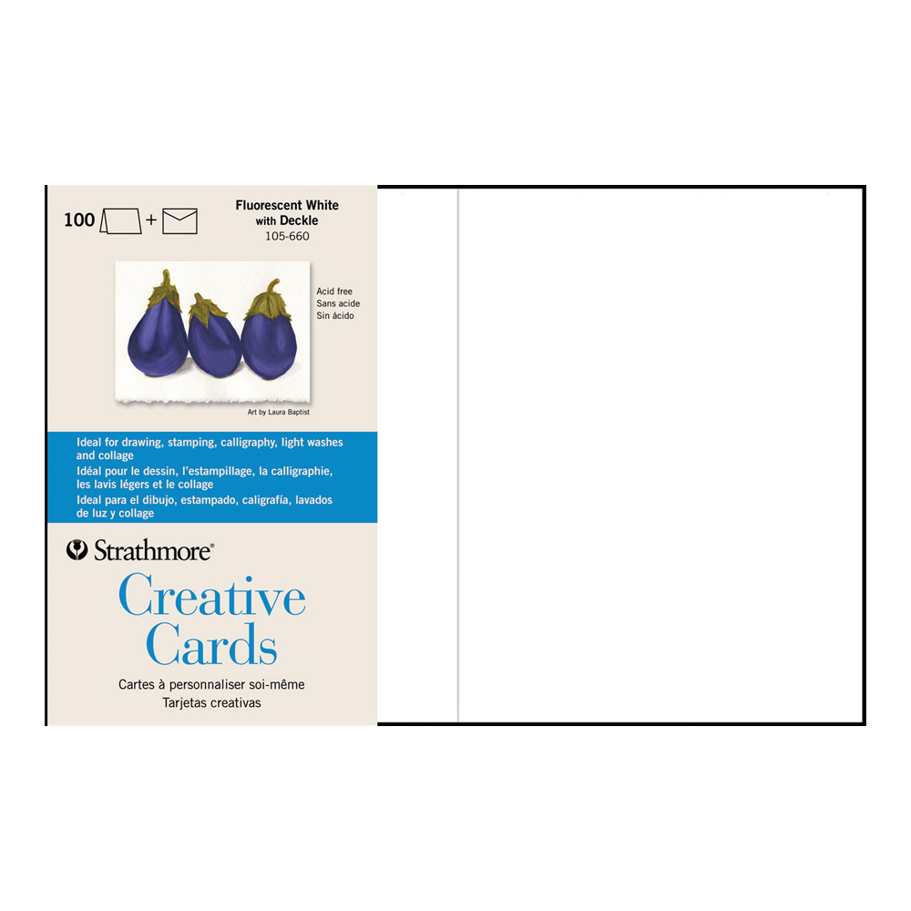 Strathmore Greeting Cards Flr White Pkg 100