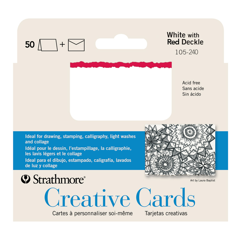 Strathmore Greeting Cards White/Red Pkg 50