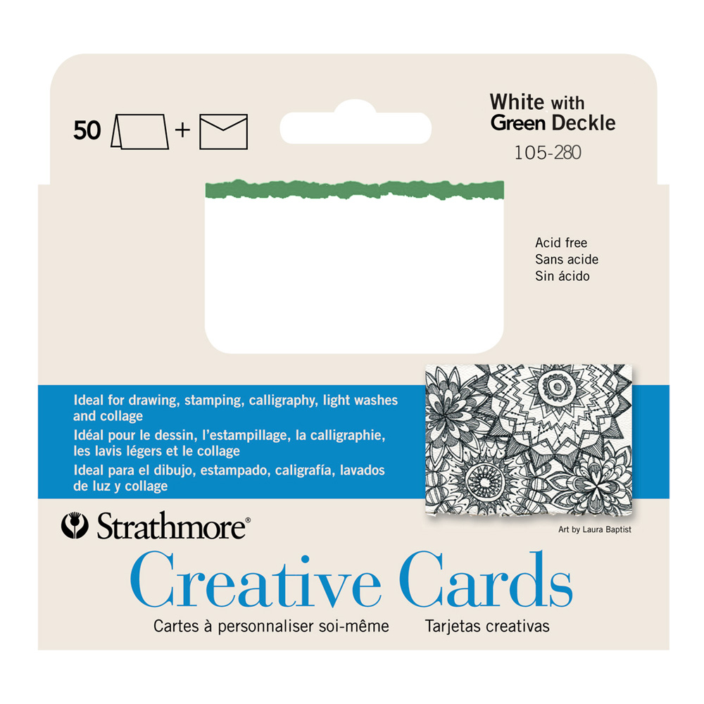 Strathmore Greeting Cards White/Green Pkg 50