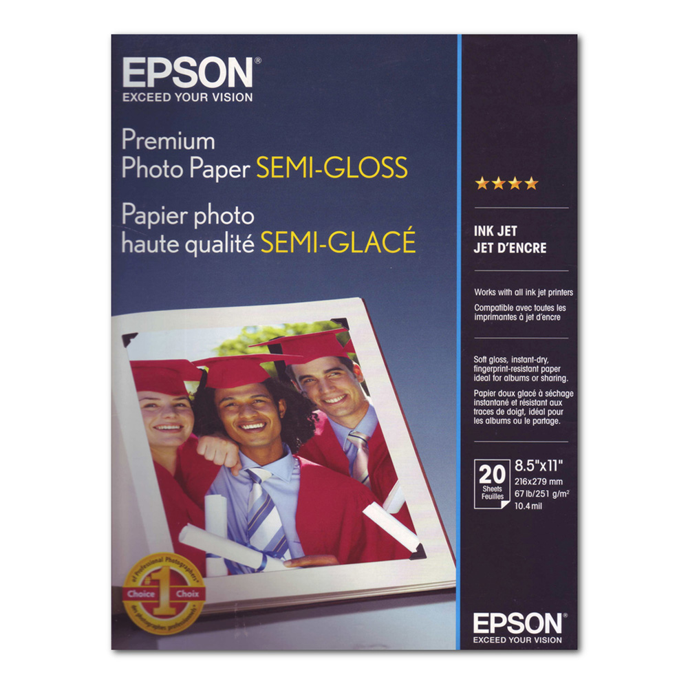 Epson Prem Photo Paper Semi-Gloss 20 8.5X11
