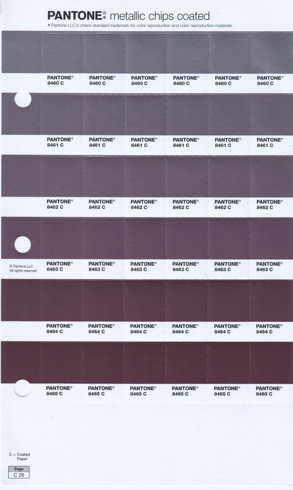 Pantone PMS Metallic Chip Pages Coated