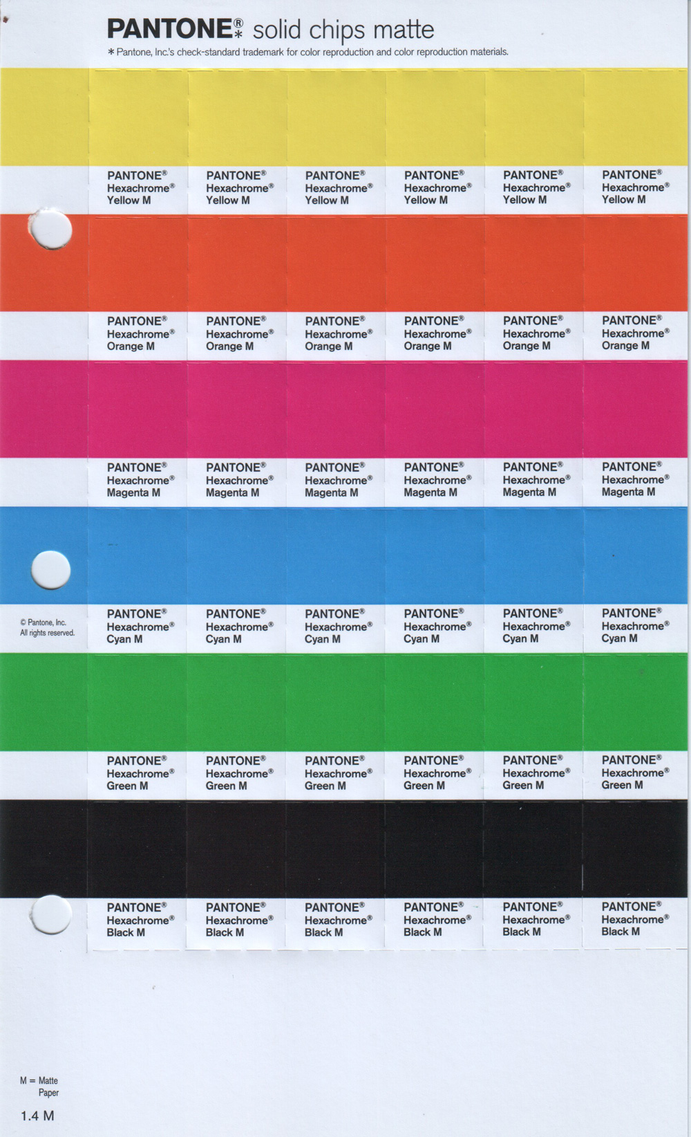 Pantone PMS Solid Chip Pages Matte