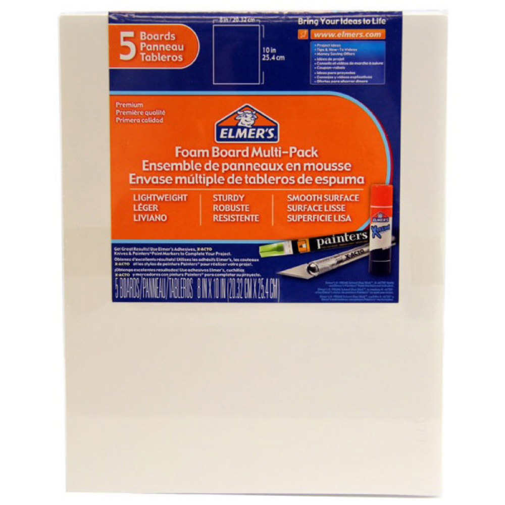 Foamboard 8X10X3/16 Pack Of 5