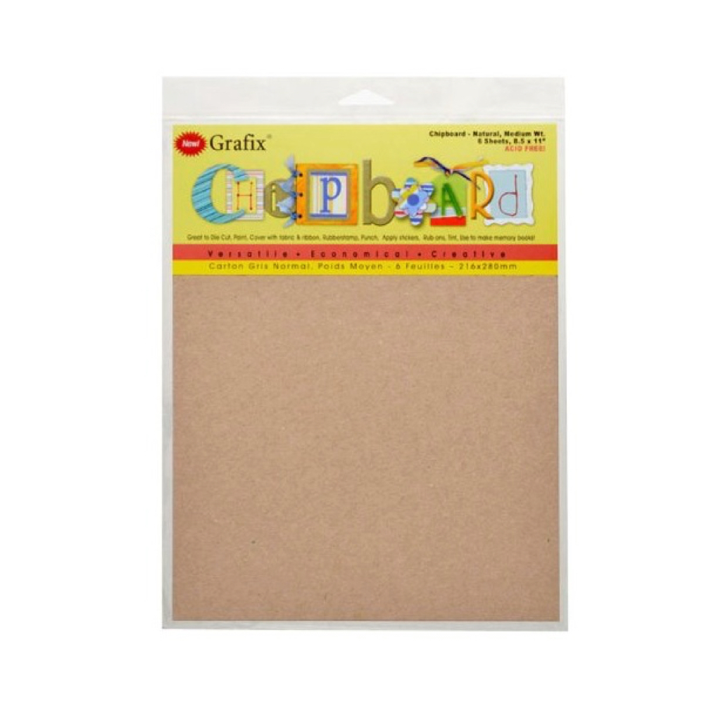 Chipboard Brown 8.5X11 Pack Of 6